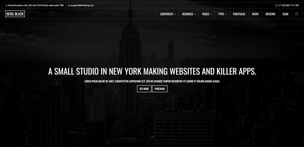 Dark Black WordPress Theme - Berg